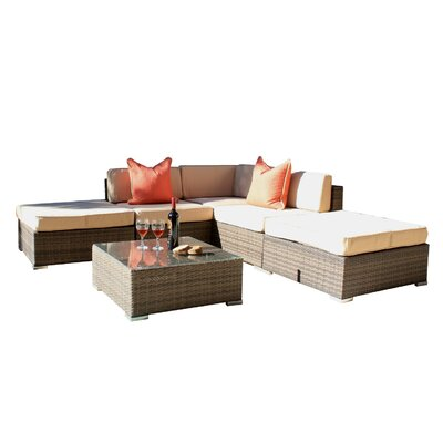 Patio Wicker 6 Piece Seating Group with Cushions