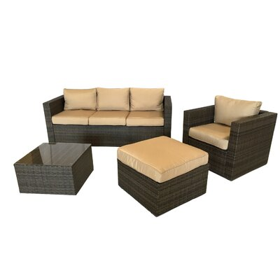 Patio Wicker 4 Piece Deep Seating Group with Cushion Frame Finish: Brown