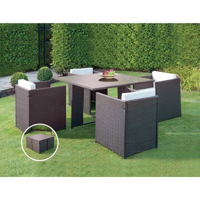 Patio Wicker Outdoor 5 Piece Dining Set