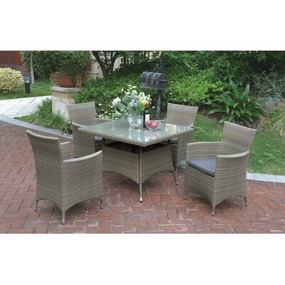 5 Piece Dining Set with Cushions Color: Natural Brown