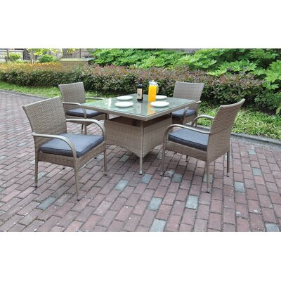 5 Piece Dining Set with Cushions Finish: Natural Brown, Cushion Color: Steel Gray