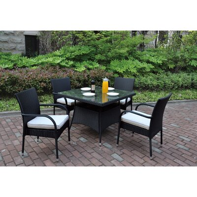 5 Piece Dining Set with Cushions Finish: Black, Cushion Color: Ivory