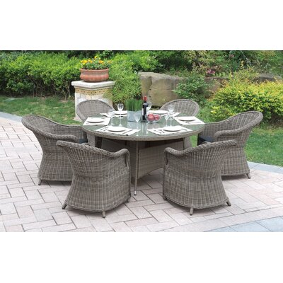 7 Piece Dining Set with Cushions Color: Natural Brown