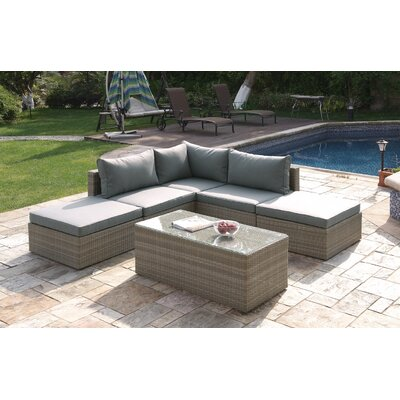 Wicker 6 Piece Deep Seating Group Set with Cushion Color: Brown