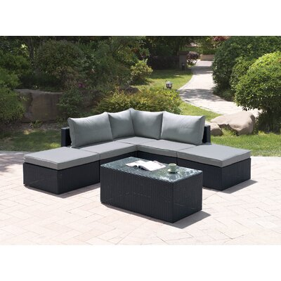 Wicker 6 Piece Deep Seating Group Set with Cushion Color: Modern Black