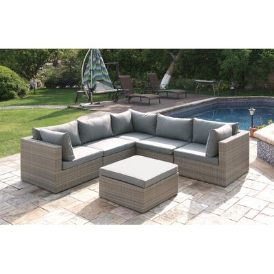 Wicker 6 Piece Sectional Seating Group Set Color: Brown