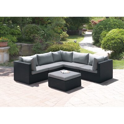 Wicker 6 Piece Sectional Seating Group Set Color: Modern Black