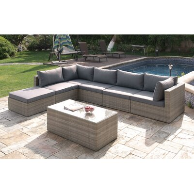 Wicker 7 Piece Deep Sectional Group Set Color: Light Brown
