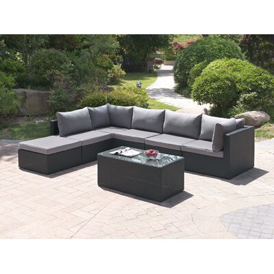 Wicker 7 Piece Deep Sectional Group Set Color: Modern Black