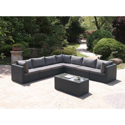 Wicker 8 Piece Sectional Seating Group Set Color: Modern Black