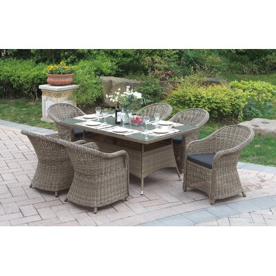 7 Piece Dining Set Color: Light Brown