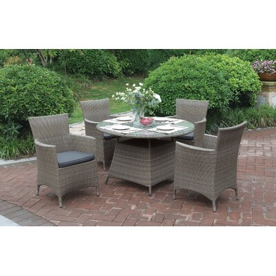 5 Piece Dining Set Color: Light Brown
