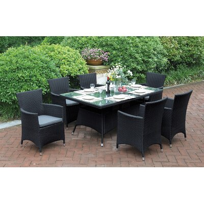 7 Piece Dining Set Color: Black