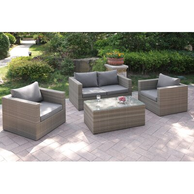 4 Piece Deep Seating Group with Cushion Finish: Light Brown