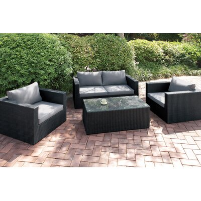4 Piece Deep Seating Group with Cushion Finish: Modern Black