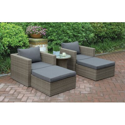 Wicker 5 Piece Seating Group with Cushion Color: Light Brown