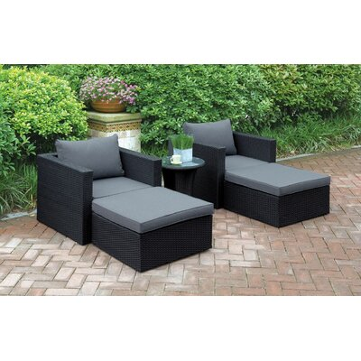Wicker 5 Piece Seating Group with Cushion Color: Black