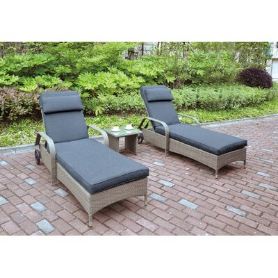 3 Piece Seating Group with Cushion Color: Light Brown