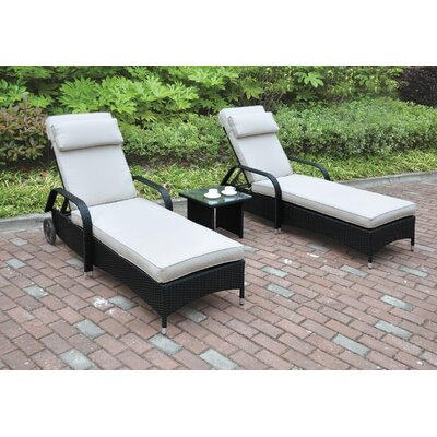 3 Piece Seating Group with Cushion Color: Black