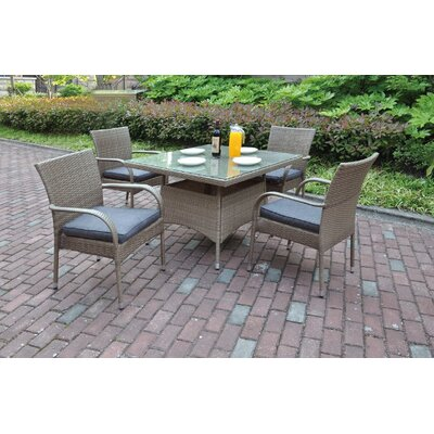 5 Piece Dining Set with Cushions Color: Light Brown