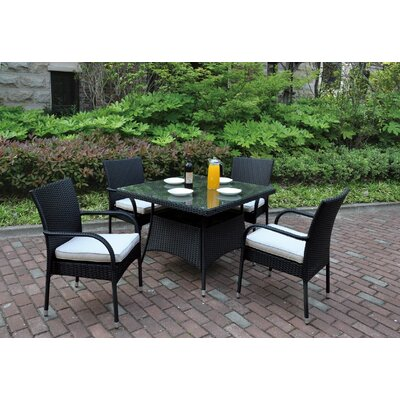 5 Piece Dining Set with Cushions Color: Black