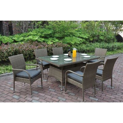 7 Piece Dining Set with Cushions Color: Light Brown