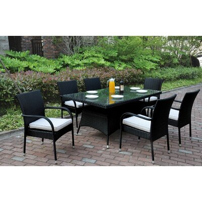 7 Piece Dining Set with Cushions Color: Black