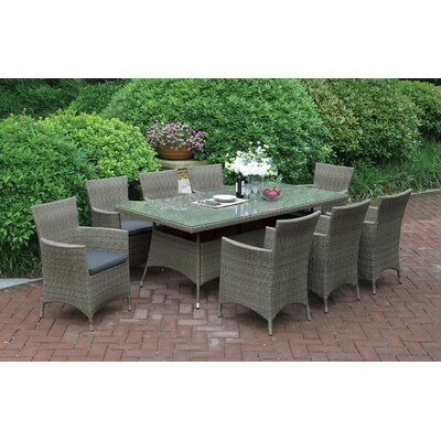 9 Piece Dining Set with Cushions Color: Light Brown