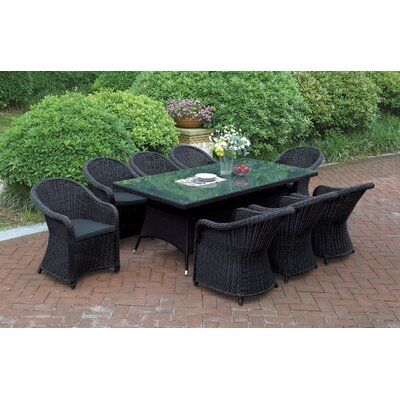 9 Piece Dining Set with Cushions Color: Black