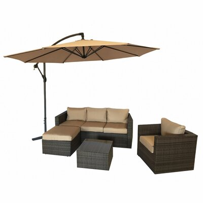 Patio Wicker 5 Piece Deep Seating Group with Cushion Frame Finish: Brown
