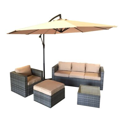 Patio Wicker 5 Piece Deep Seating Group with Cushion Frame Finish: Gray