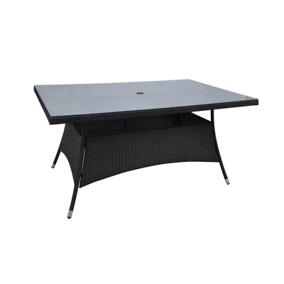 Patio Wicker Dining Table Finish: Black
