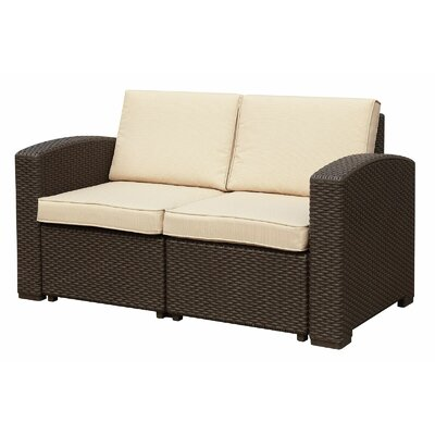 Ilka Loveseat with Cushions Finish: Dark Brown