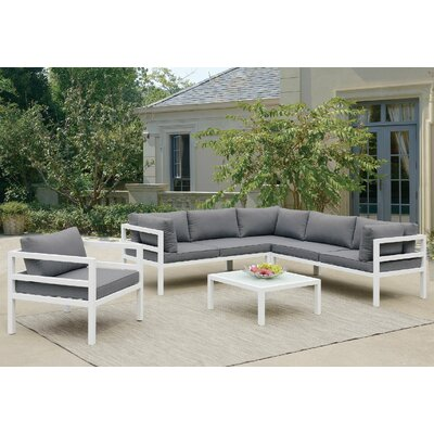 Valencia 5 Piece Sectional Deep Seating Group with Cushion