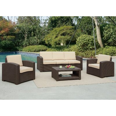 Antoinette 4 Piece Coastal Deep Seating Group with Cushion Frame Finish: Dark Brown