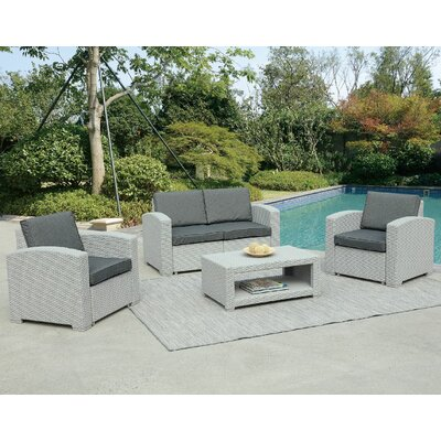 Antoinette 4 Piece Coastal Deep Seating Group with Cushion Frame Finish: Light Gray