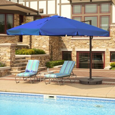 10 Santorini II Square Cantilever Umbrella Color: Blue, Finish: Bronze