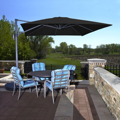 10 Santorini II Square Cantilever Umbrella Color: Black, Finish: Dark Grey