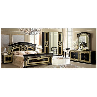 Panel 3 Piece Bedroom Set Color: Black / Gold