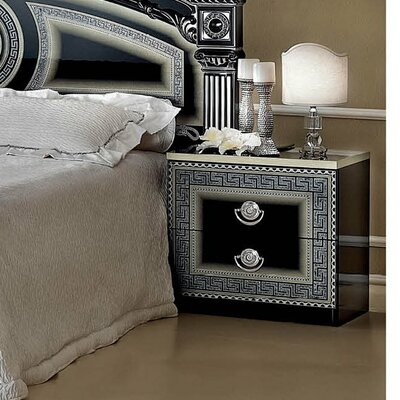 Noci 2 Drawer Nightstand Color: Black / Silver