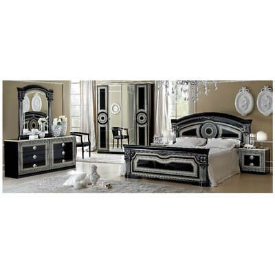 Panel 3 Piece Bedroom Set Color: Black / Silver