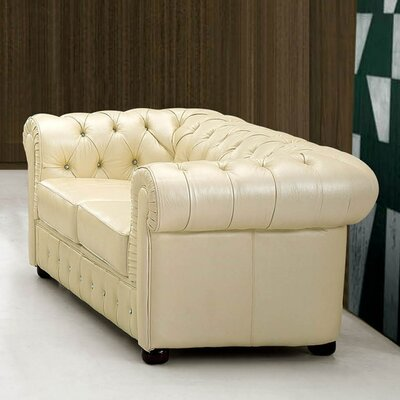 Noci Leather Chesterfield Loveseat