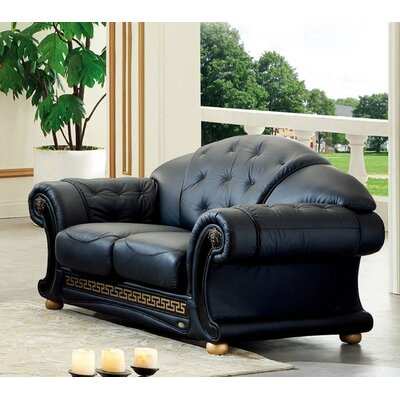 Noci Leather Loveseat Upholstery: Black