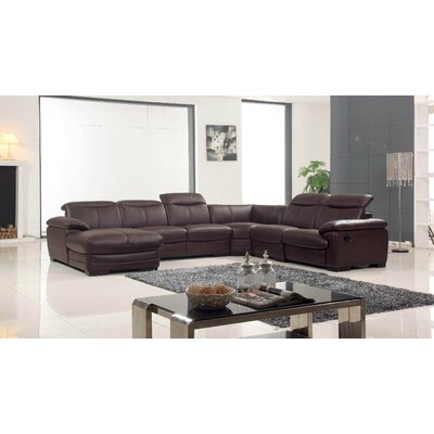 Leather Reclining Sectional Orientation: Left Hand Facing