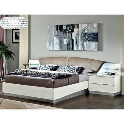 Upholstered Platform Bed Size: King, Color: White