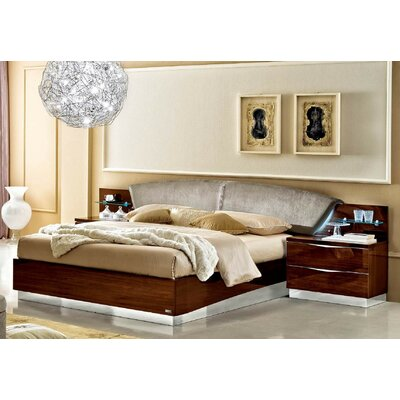 Upholstered Platform Bed Size: Queen, Color: Walnut