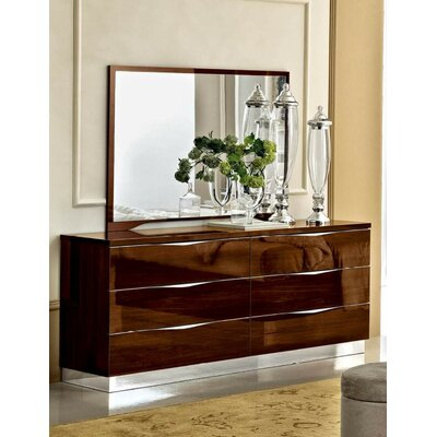 6 Drawer Combo Dresser with Mirror Color: Walnut