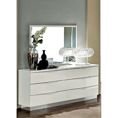 6 Drawer Double Dresser with Mirror Color: White