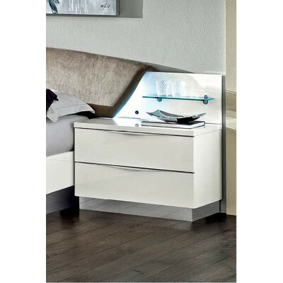 2 Drawer Nightstand Color: White