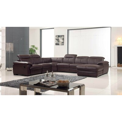 Leather Reclining Sectional Orientation: Right Hand Facing
